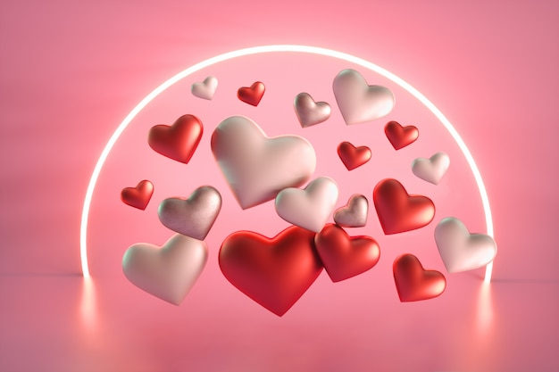 Walentynki serca z neonowym kółkiem