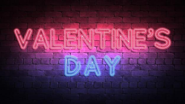 Walentynki tło. jasny neon. renderowania 3d