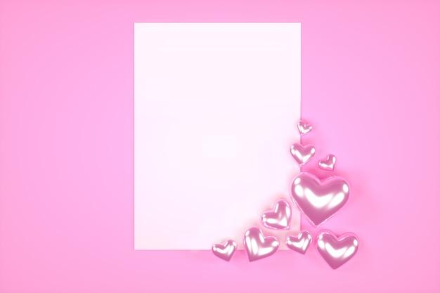 Walentynki tło z błyszczącym sercem. karta do tekstu.