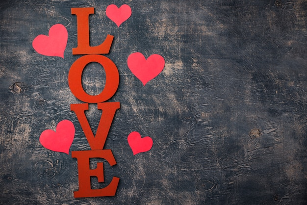 Walentynki tło z literami miłość