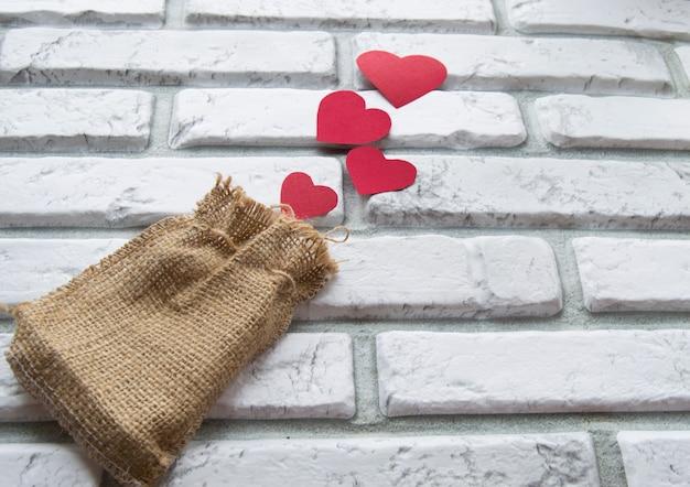 Walentynki, torba płócienna z czerwonymi sercami
