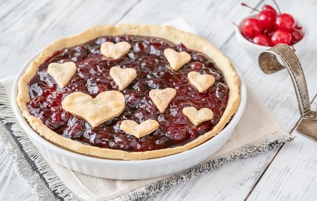 Walentynki wiśniowy dżem tarta zbliżenie