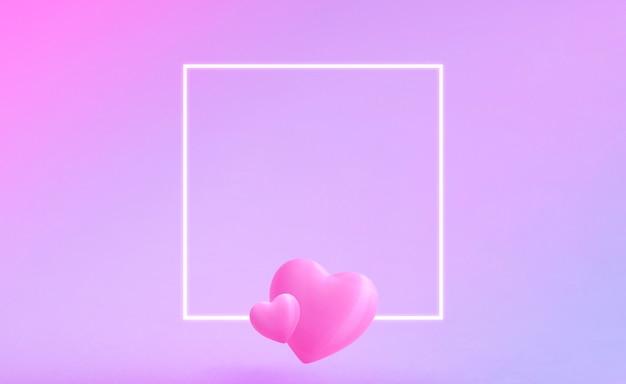 Walentynki z białą poświatą kwadratową ramką. dwa słodkie walentynkowe serca znajdują się na dole ramki. różowe i niebieskie tło gradientowe. miejsce na tekst