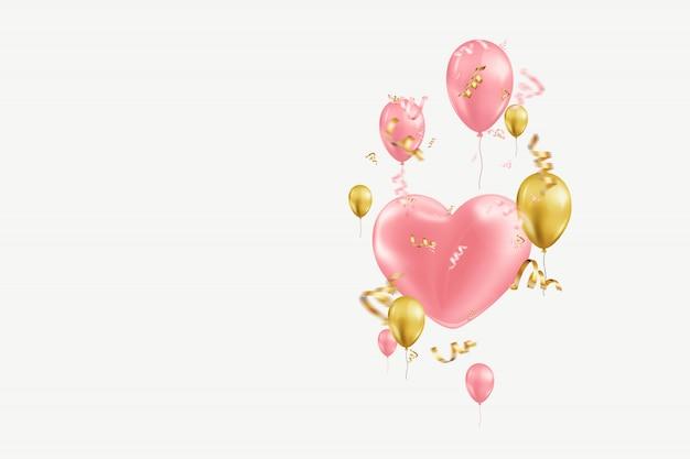 Walentynki z różowymi i złotymi balonami na świetle