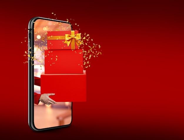 Walentynkowe pudełko prezentowe wysyłane z telefonu komórkowego