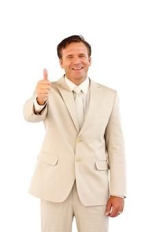 Wali się pokazując męską biznesową osobę