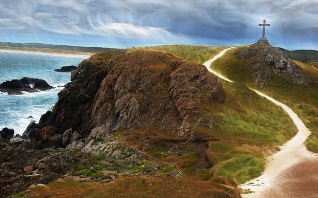 Walijski ocean, niebo, morze, klif krzyż wales skała