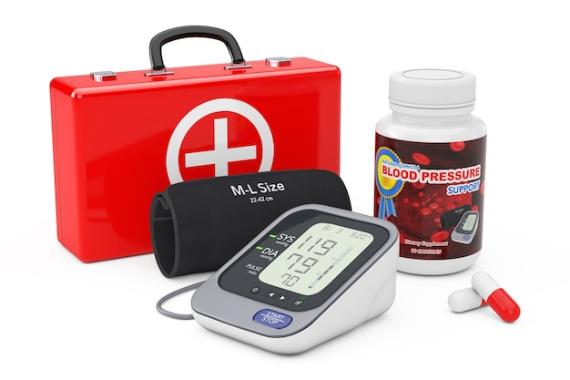 Walizka medyczna, plastikowa butelka z tabletkami wspomagającymi ciśnienie krwi i cyfrowy ciśnieniomierz z mankietem na białym tle. renderowanie 3d