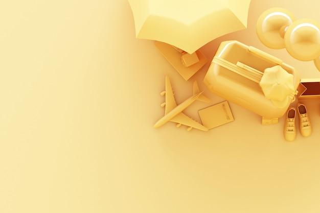 Walizka z akcesoriami podróżnymi na pastelowym żółtym tle. koncepcja podróży. renderowanie 3d