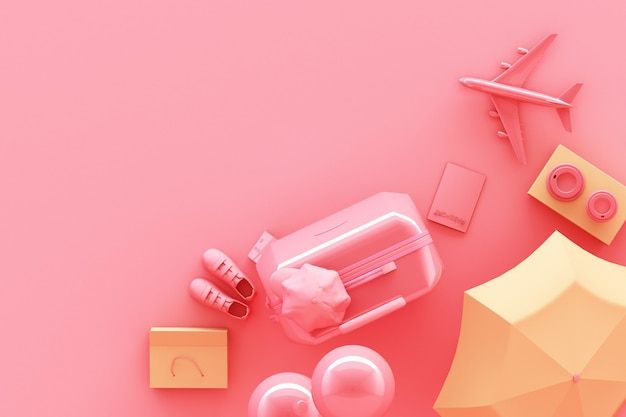 Walizka z podróżników akcesoriami na pastelowych menchiach podróżuje pojęcia 3d rendering