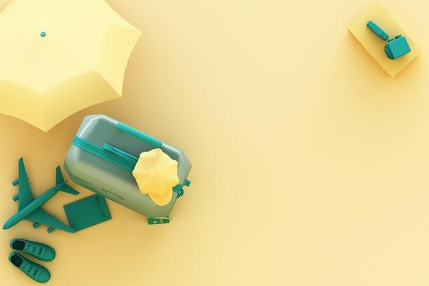 Walizka z podróżników akcesoriami na pastelowym żółtym podróży pojęcia 3d renderingu