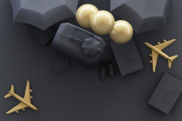 Walizka z podróżników akcesoriami na szarość podróżuje pojęcia 3d rendering