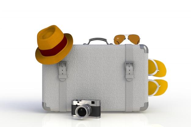 Walizka ze słomkowym kapeluszem i aparatem fotograficznym w stylu retro