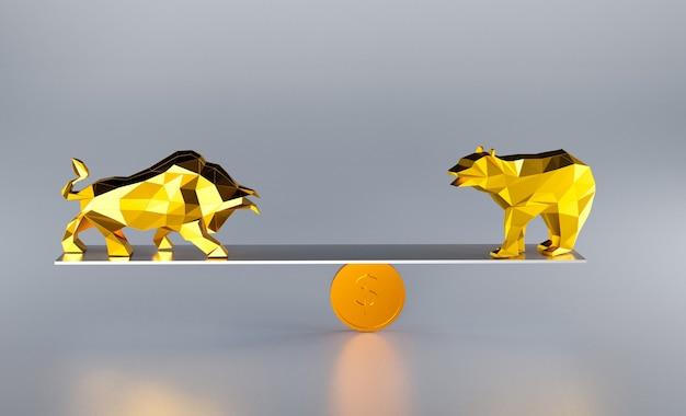 Walka z bykiem i niedźwiedziem, byka i niedźwiedzia na giełdzie, renderowanie ilustracji 3d