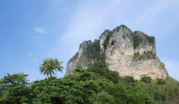 Wapienny klif na plaży railey, krabi w tajlandii