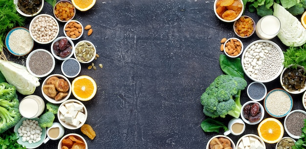 Wapń wegetarianie widok z góry ramki zdrowej żywności czyste jedzenie