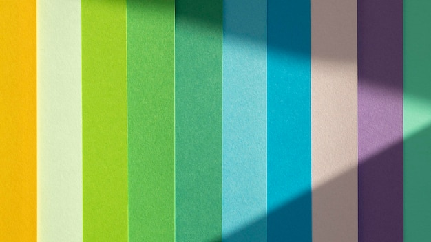 Warstwy kolorowych papierów w gradiencie