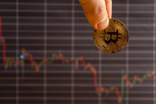 Wartość bitcoin zanotowała znaczne straty. koncepcja obniżenia ceny bitcoin