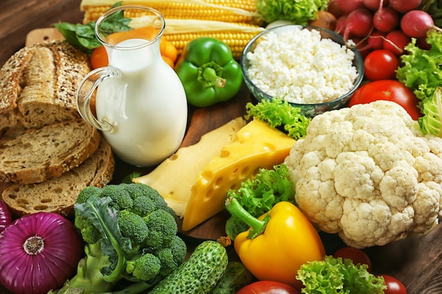 Warzywa i produkty mleczne, z bliska