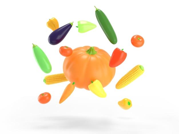 Warzywa latające na białym kolorowym tle