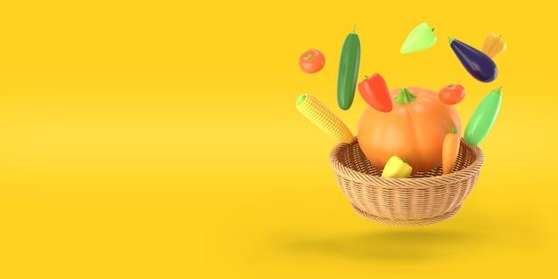 Warzywa latające nad koszem na żółtym tle kolorowe 3d renderowane