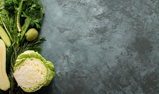 Warzywa widok z góry z miejsca na kopię