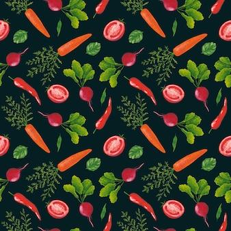 Warzywa wzór na ciemnym tle. rzodkiew gwasz, papryczka chili, nadruk pomidora i marchewki. tło warzywniak.