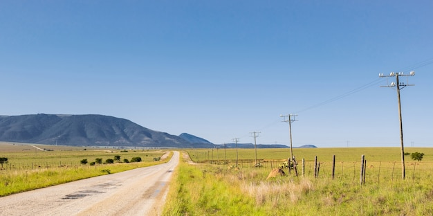 Wąska asfaltowa droga na terenach wiejskich z długim rzędem słupów energetycznych połączonych przewodami wysokiego napięcia