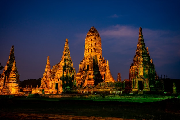 Wat chai wattanaram antycznej świątyni turystyczna atteaction w ayudhya tajlandia