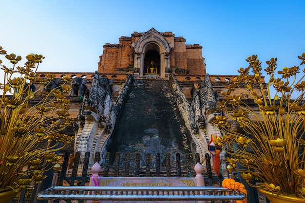 Wat chedi luang jest buddyjską świątynią w historycznym centrum i buddyjską świątynią jest główną atrakcją turystyczną w chiang mai w tajlandii.