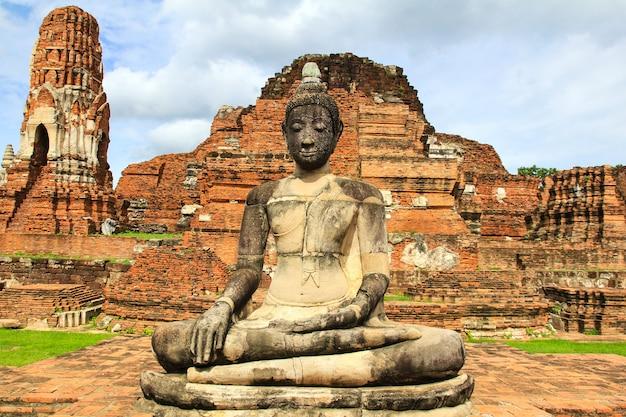 Wat mahathat w ayutthaya dziejowym parku, tajlandia.