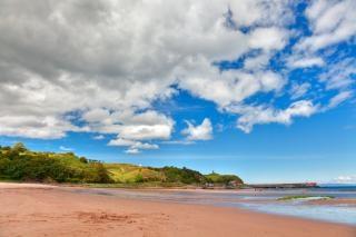 Waterfoot plaża hdr niebieski