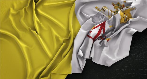 Watykan flagi zgnieciony na ciemnym tle renderowania 3d