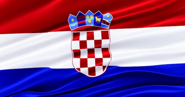 Waving fabric flaga chorwacji, jedwabna flaga chorwacji.