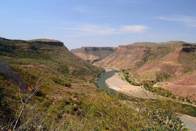 Wąwóz nilu niebieski, szeroki kąt widzenia, etiopia