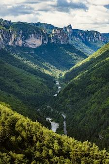 Wąwozy rzeki tarn podwyższony widok na czysty naturalny krajobraz na południu francji