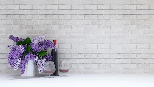Waza purpury kwitnie z szkłem i dnem wino na ceglanym tle - 3d rendering