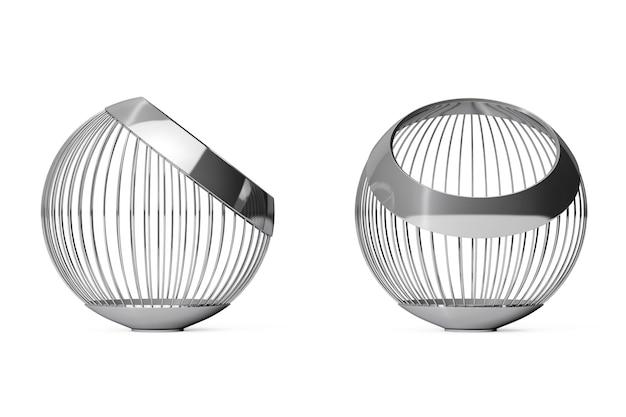 Wazony z drutu stalowego chromowanego na owoce na białym tle. renderowanie 3d