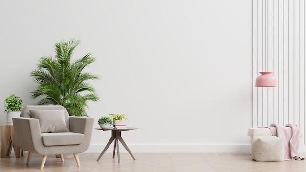 We wnętrzu stoi fotel na pustej białej ścianie