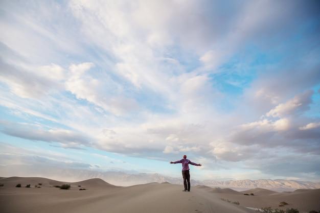 Wędrowiec wśród wydm na pustyni
