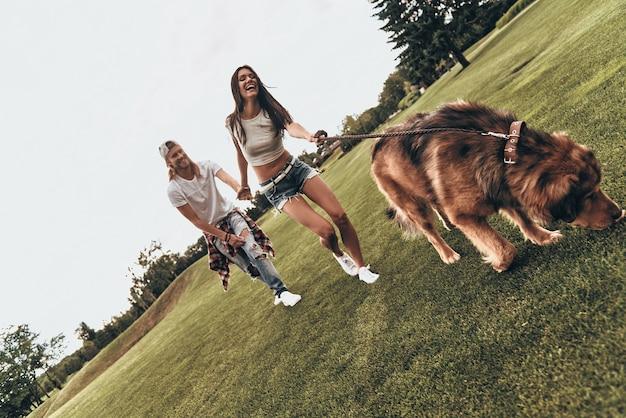 Weekendowa zabawa. pełna długość pięknej młodej pary bawiącej się z psem podczas spędzania czasu na świeżym powietrzu