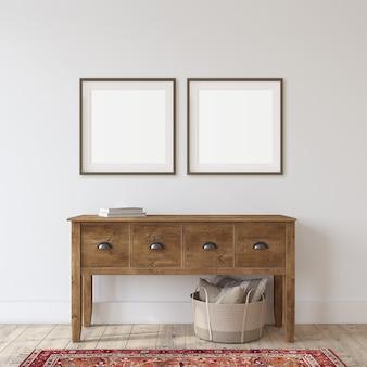 Wejście do domu wiejskiego. drewniany stół konsolowy w pobliżu białej ściany. makieta ramki. na ścianie dwie czarne kwadratowe ramki. renderowania 3d.