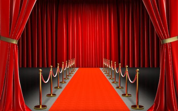 Wejście do kina z czerwonym dywanem