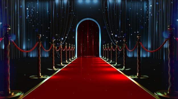 Wejście z czerwonego dywanu z barierkami i aksamitnymi linami. renderowania 3d
