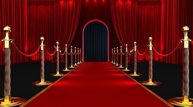Wejście z czerwonego dywanu z barierkami i aksamitnymi linami.