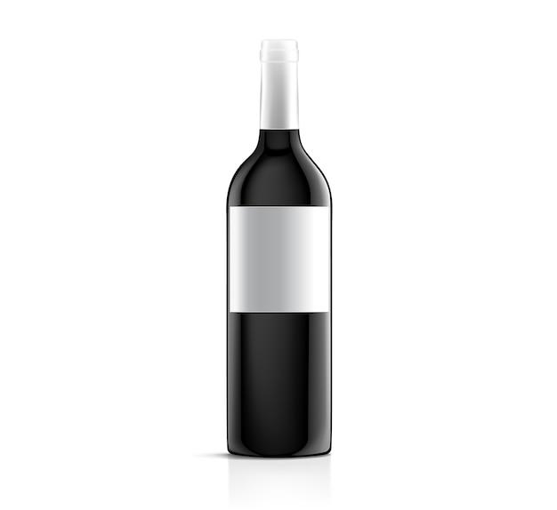 Wektor pusta biała etykieta makiety na czarnej butelce czerwonego wina na białym tle