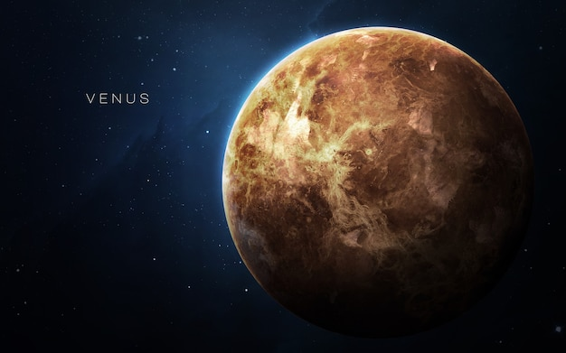 Wenus w przestrzeni, ilustracja 3d. .