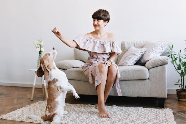 Wesoła dziewczyna boso w stylowej sukience relaksując się na kanapie i bawiąc się z zabawnym szczeniakiem rasy beagle, który siedzi na dywanie obok