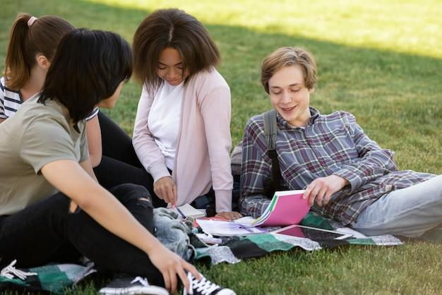 Wesoła grupa wieloetnicznych studentów studiujących na zewnątrz.