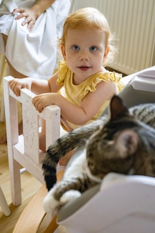 Wesoła śmieszna ruda dziewczynka w eleganckiej żółtej sukience pozuje z kotem relaksującym się na fotelu